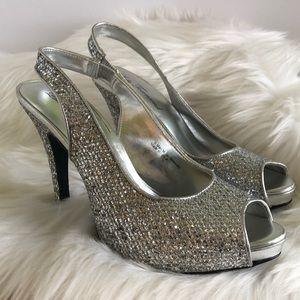 Lulu Townsend sparkly stiletto sling backs silver